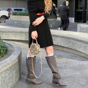 Grey tall boots with western details